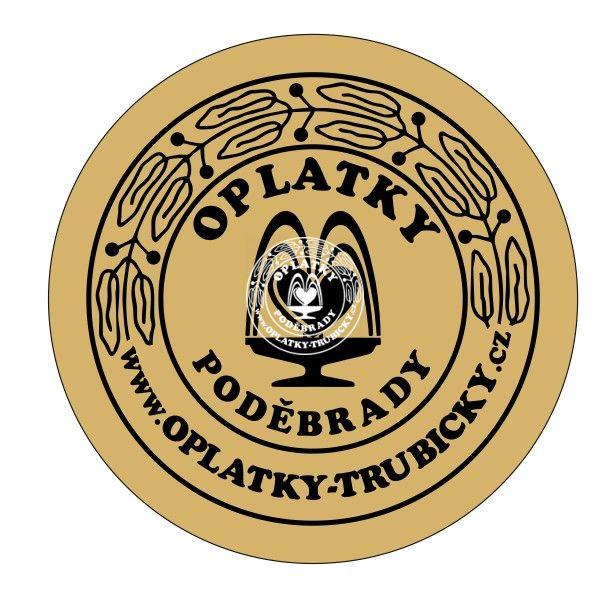 Samolepka Oplatky Poděbrady, zlatá 83mm